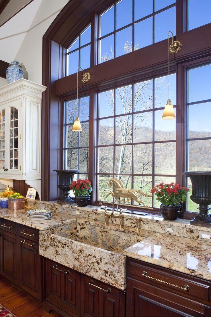 Kitchen decor, Kitchen designs, Kitchen decorating ideas - Granite tops AND sink ... Plus great windows!