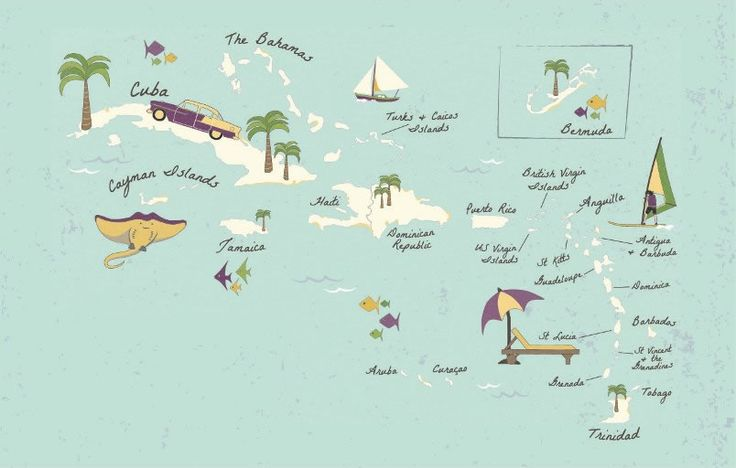 Illustrated map of the Caribbean islands for ABTA Magazine ...