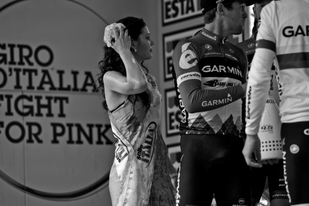 A Champagne soaked podium girl following Ryder Hesjedal's Giro win.