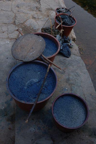Huge vats of blue indigo dye - Guizhou, China