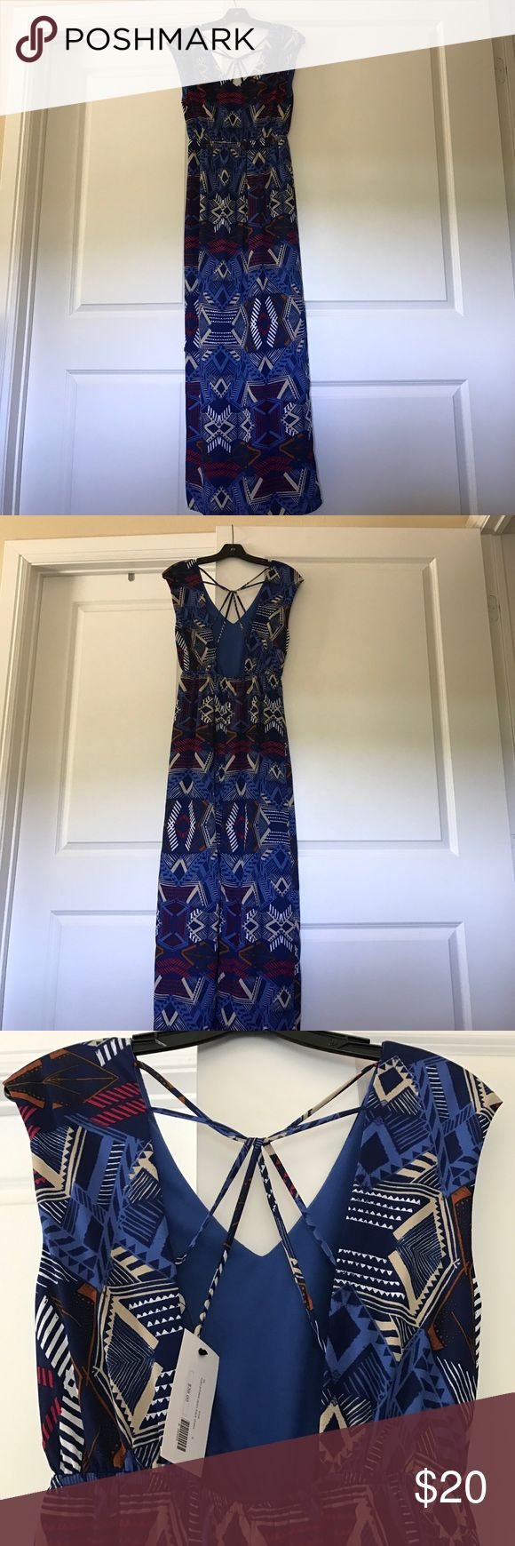Aztec maxi dress Aztec maxi dress. Slit in back. Open back with design. Never worn. Tags still on. Everly Dresses Maxi