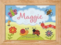 Bugs and Bees Childrens Name Picture   This colourful fabric style print will capture your child's imagination and has lots of cute bugs to spot!   Children love to see their own name in print and this will help them begin to recognise it. You can personalise this picture with your child's name and two unique messages.  A4 PRINT ONLY £16.50 This adorable picture is designed and illustrated by Creative Sofa Kids Art and printed at the highest quality onto A4, 190gsm, soft textured fine-art…
