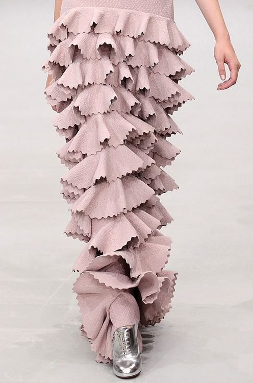 Mauve Mermaid Dress with dimensional tiered layers and a scalloped trim - couture closeup; Azzedine Alaia