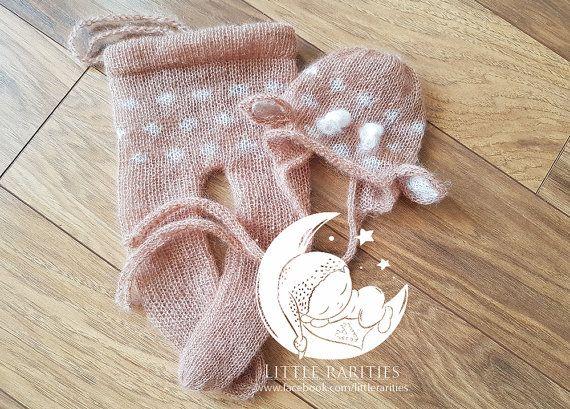 deer pants and bonnet set   newborn photo by LittleRaritiesStudio