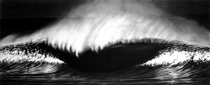 Robert Longo - Untitled (Whale Beach, Australia, 01/23/99) from the series Monsters, Charcoal on mounted paper, 2000