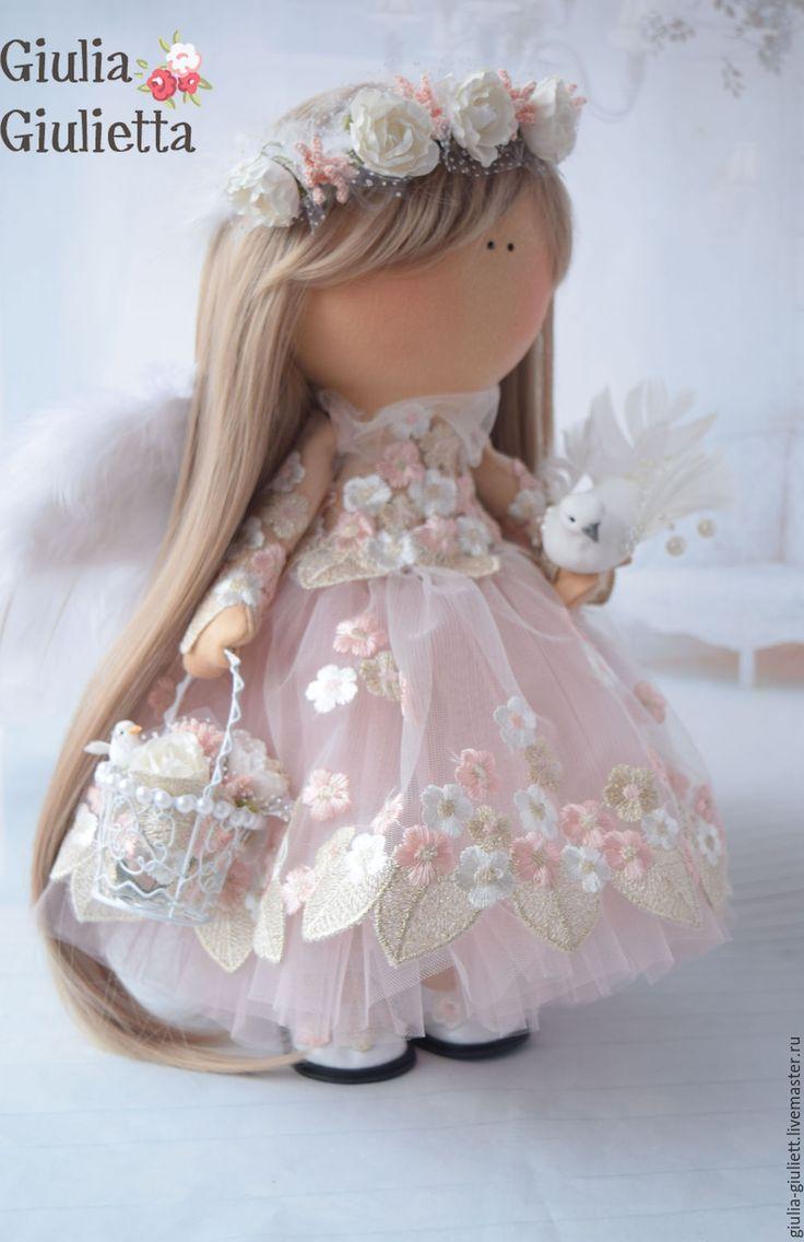 Купить Интерьреная кукла - белый, парик, венок, кружево, корзинка, трикотаж…