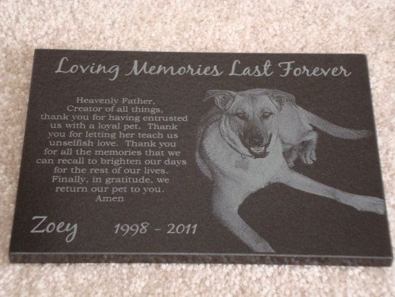 5x7 Black Granite Pet Memorial Stone Plaque Laser by BenteDesigns, $49.99