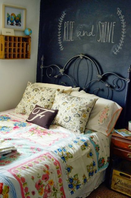 Love the bedspread.  Make with vintage hankies or towels?  Chalkboard wall looks cool.  Natalie's Home Made Lovely » Life Made Lovely