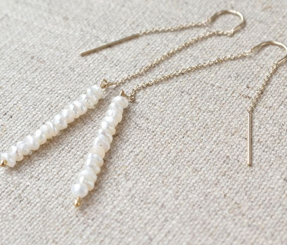 Thread earrings seed pearl 14k gold Modern by ThePillowBook, $45.00