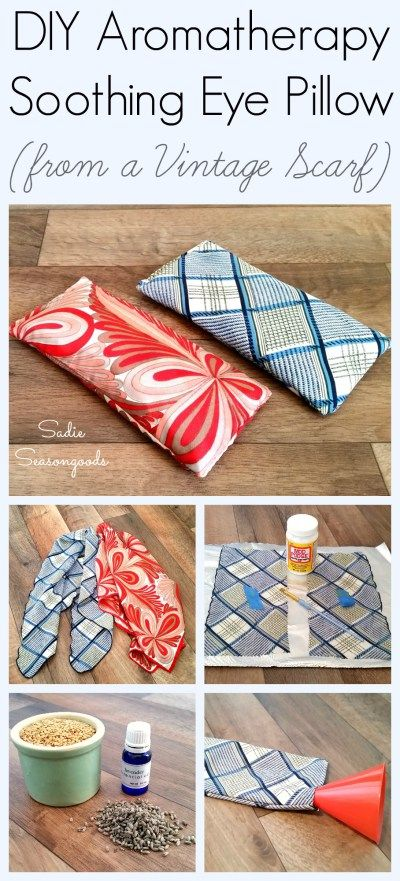 Create your own relaxing spa experience by putting an old scarf to a good new use- with a DIY aromatherapy eye pillow! Stress relief meets repurposing and takes no time to make- basic sewing skills, a vintage scarf, and some soothing ingredients are all you need. Simple, soothing upcycle craft project from #SadieSeasongoods / www.sadieseasongoods.com