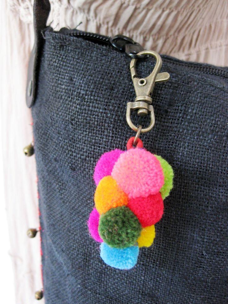 Key Chain Bag Accessories Colorful Grapes Pom Poms ...