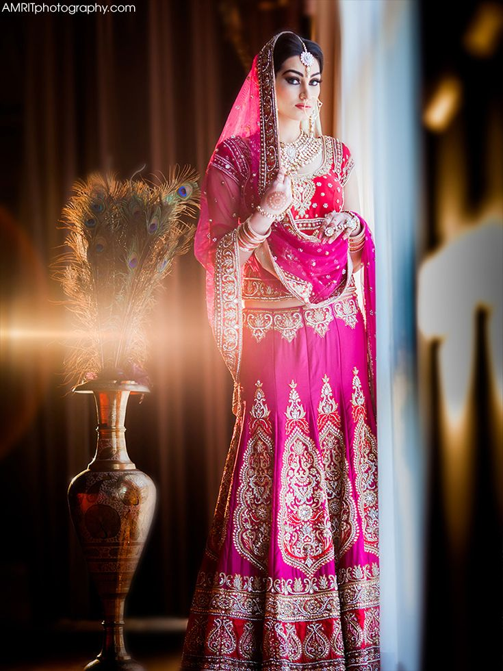 Indian bridal pink colour lengha | Photography by: www.AmritPhotography.com | Wardrobe by WellGroomed, Surrey, BC, Canada | TAGS: India wedding outfit dress punjabi weddings lengha lehnga bride indian wedding pink