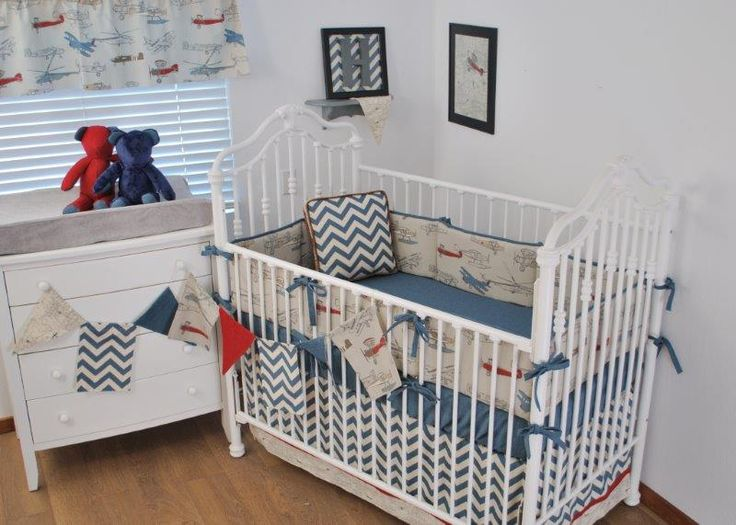 1000 images about baby boys nursery on pinterest airplane mobile red and blue and vintage - Airplane baby bedding sets ...