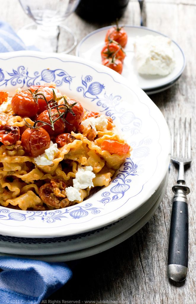 Mafaldine With Roasted Tomatoes, Robiola, And Crushed Fennel Seeds ...