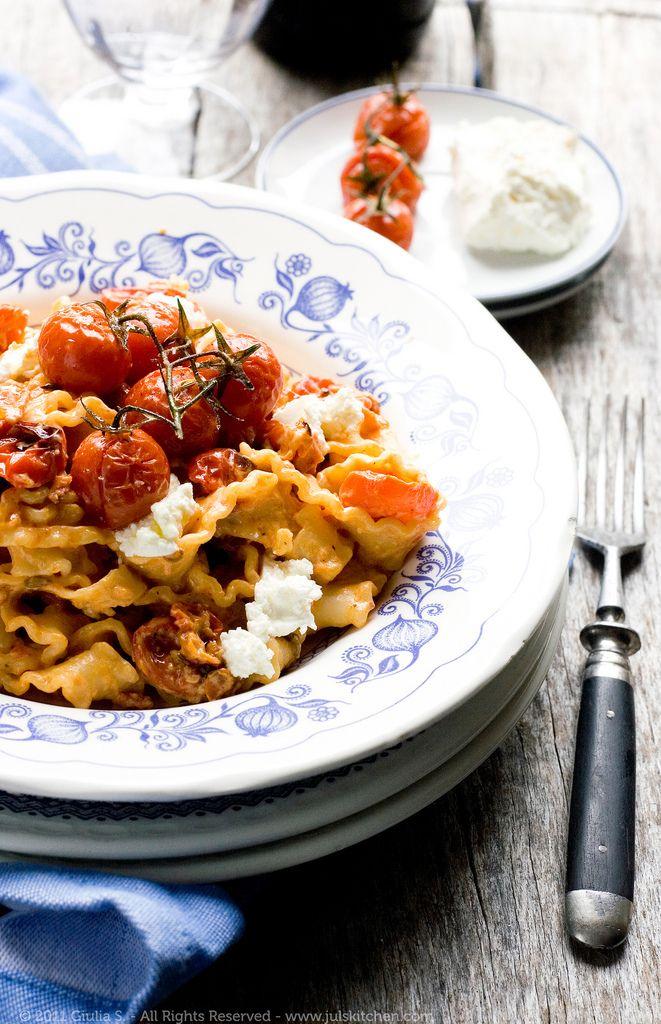 mafalde with roasted tomatoes robiola amp crushed fennel seeds
