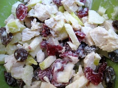 Orchard Chicken Salad - Roast chicken with green apple, dried cranberries, white raisins, grapes (halved) and candied walnuts (butter and brown sugar).  I serve on Italian wheat bread.  It is the BEST salad ever everyone tells me! - T.