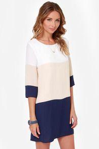Vestito con blocco di colore-bianco&albicocca&azzurro
