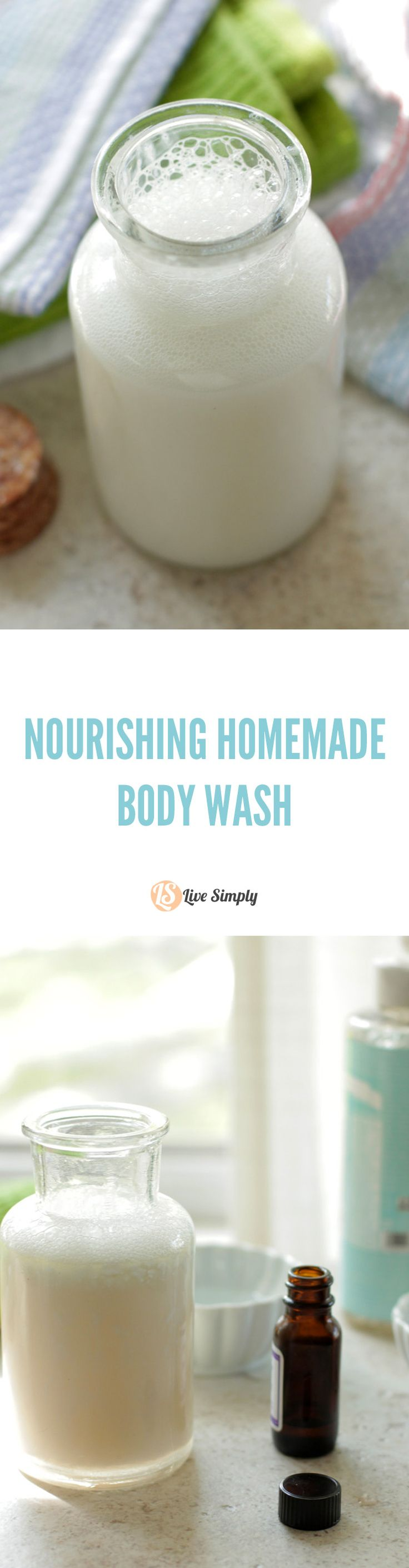 DIY natural body wash that moisturizes and cleans! This body wash leaves my skin silky soft and smelling amazing. I haven't purchased body wash in years thanks to this recipe.