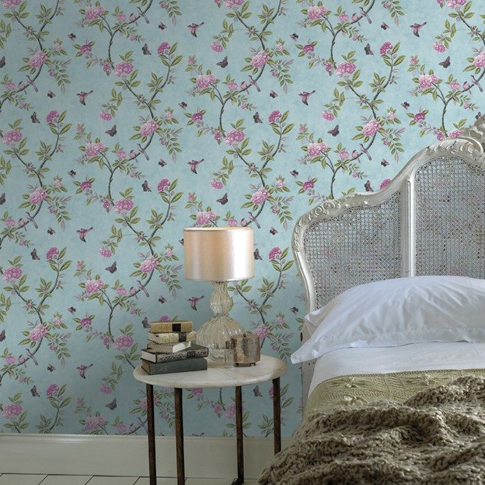 Chinoiserie Duck Egg Wallpaper - Blue Floral Wall Coverings by Graham  Brown