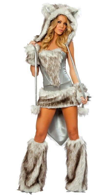Silver Fur Hooded Wolf Halloween Sexy Costume#Halloween #costume www.loveitsomuch.com