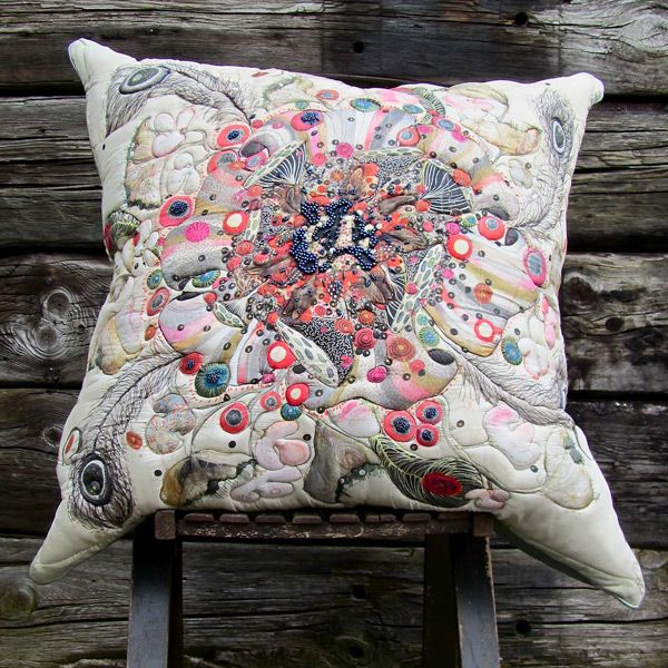 'Blooming Marvellous', silk cushion by Louise Gardiner