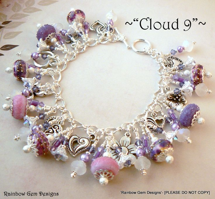 Charm Bracelet using handmade Lampwork Beads, freshwater pearls, Czech Beads, Swarovski Crystals, Miyuki Beads  Charms ;o)