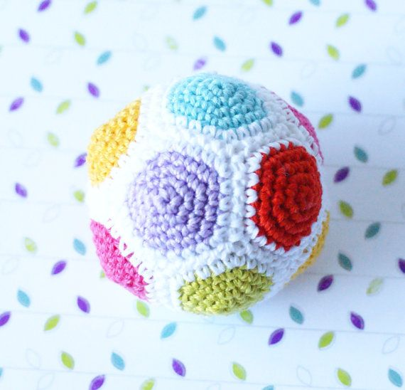 Crochet Baby Toy Ball Rattle. From Sympatico Shop.