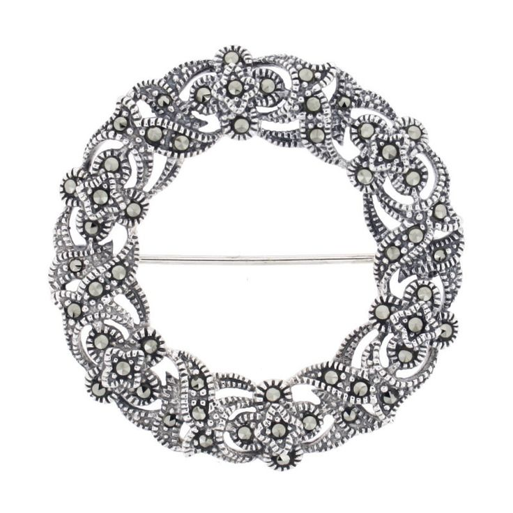 """Marcasite Brooch/Pendant €95.00 Sterling Silver Hallmarked in Dublin Round in shape with a pendant loop at the back for a chain. Presented in a """"Chicago Marcasite Jewellery"""" Box & Bag"""