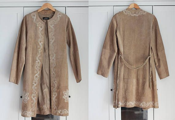Rare Suede Coats Embroidered Vintage Jacket Women Beige