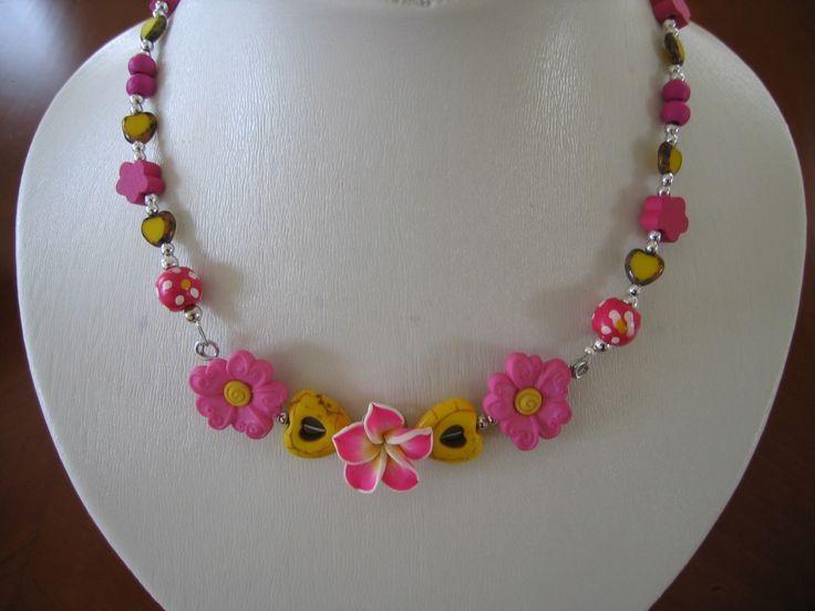 Collier petite fille rose et jaune : Bijoux enfants par bijouxlibellule