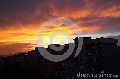 Sunset seen from a neighborhood in Brasov