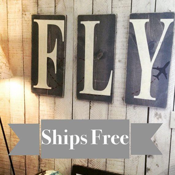 Children's Nursery Decor - Pilot Gift - Aviation - Airplane Nursery Decor - Rustic Decor- Airplane Art - Gift for Pilots- Travel Art - Fly