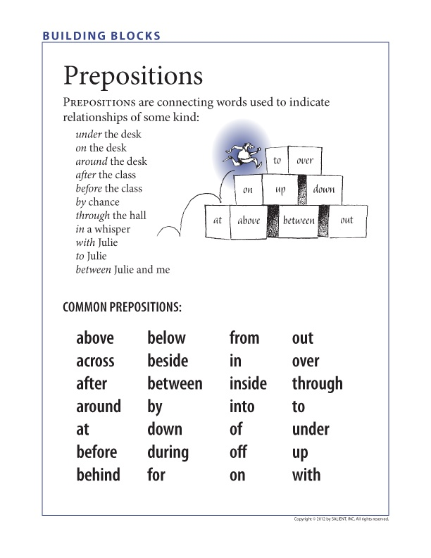 FREE: Understanding prepositions—and prepositional phrases.