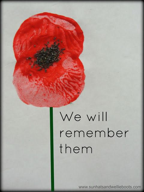 Poppy Prints for Remembrance Day using apples and poppy seeds: