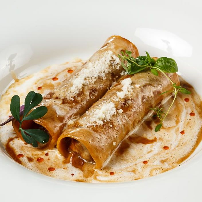 Cannelloni of Tuscan wild boar meat in a creamy sauce [G. Graff Restaurant // Moscow]