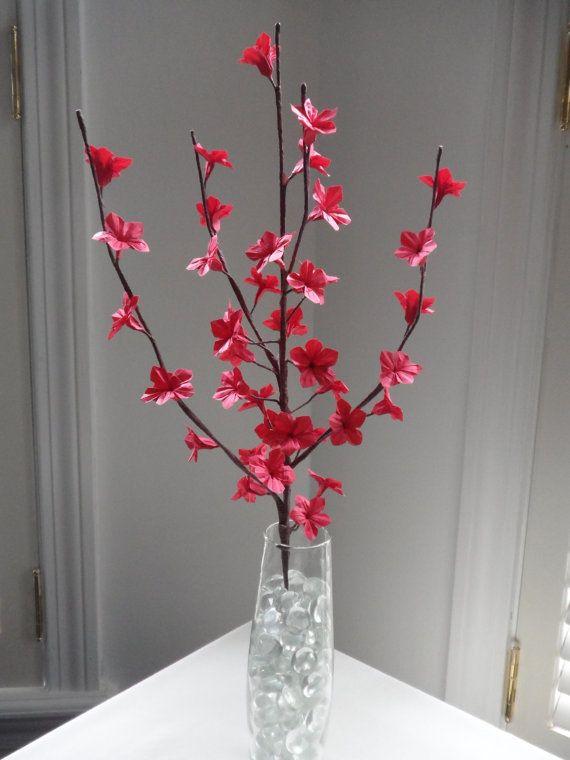 Papier origami fleur de cerisier fleurs rouge