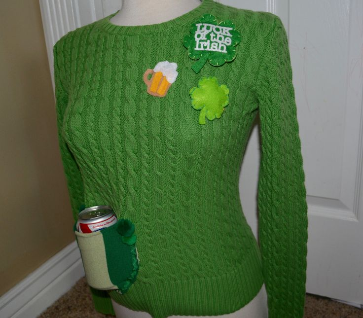 Lucky BEER Holder sweater, St. Patricks day, Ugly Christmas Sweater, Small, party sweater, beer, drink holder, st pattys, irish by YourSassyGrandma on Etsy