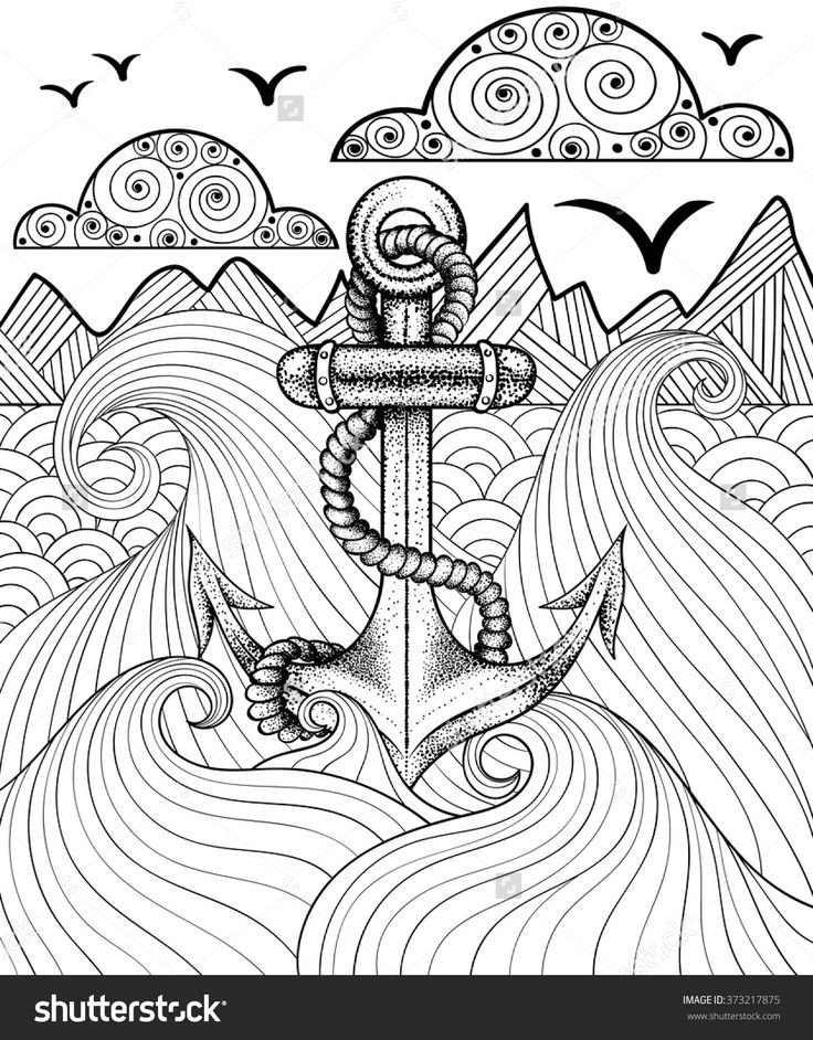 Vector Zentangle Print For Adult Coloring Page. Hand Drawn Artistically Ethnic Ornamental Patterned Sea Anchor. - 373217875 : Shutterstock