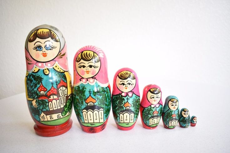 Vintage Painted Russian Stacking Dolls 7 Dolls Total Folk Art Kitsch Colorful