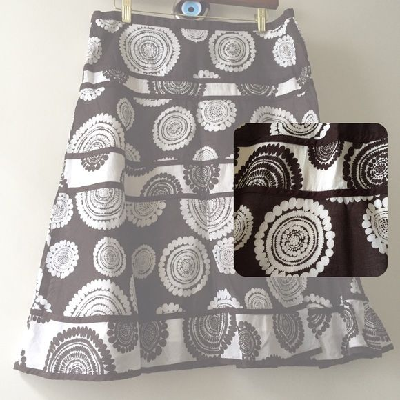 "BCBC MaxAzria A-line skirt Aboriginal Pattern BCBC MaxAzria A-line skirt with a Concealed side zipper closure.  Approx. 25"" from waist, Approx.  17 1/2"" waist Self: 100% Cotton Lining: 100% Cotton  Beautiful Aboriginal pattern (chocolate brown and white) BCBGMaxAzria Skirts A-Line or Full"