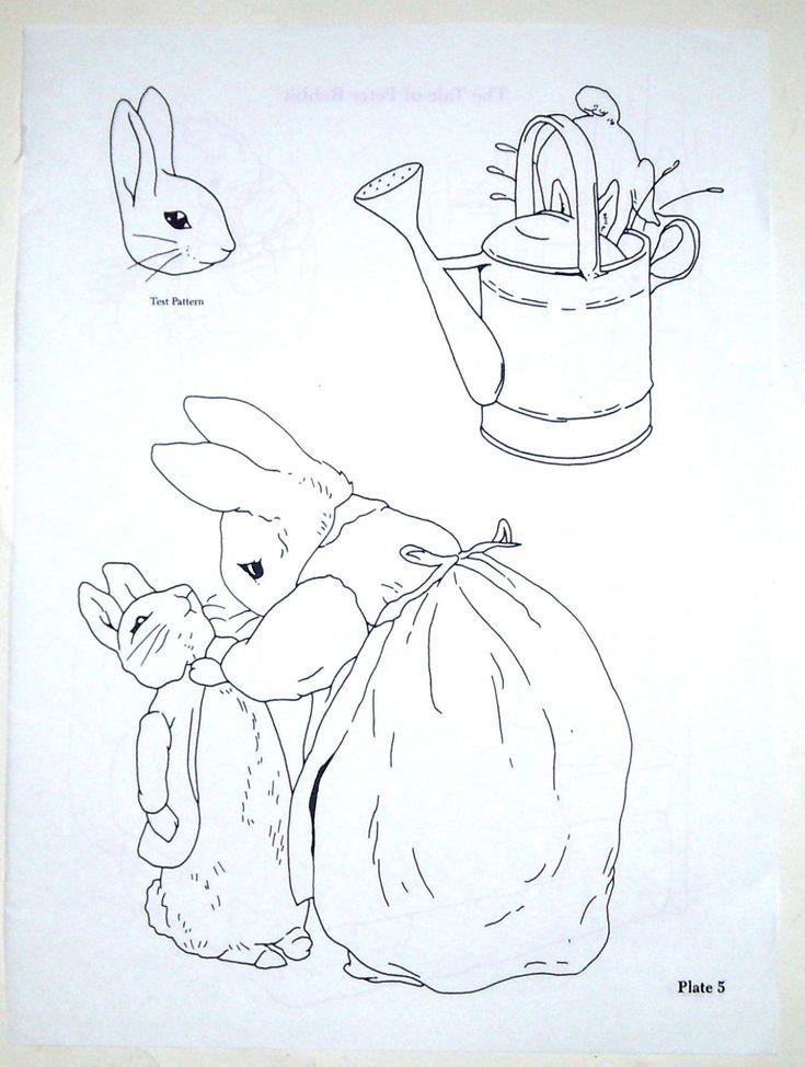 Vintage embroidery transfer - Beatrix Potter - Tale of Peter Rabbit bunnies (2) | eBay
