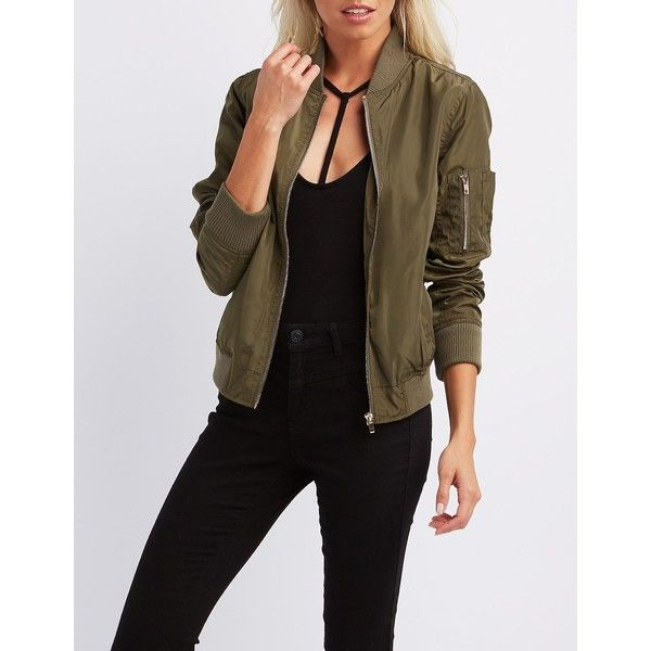 Charlotte Russe Zip-Up Bomber Jacket ($37) ❤ liked on Polyvore featuring outerwear, jackets, olive, flight jacket, bomber jacket, green military jacket, brown bomber jacket and army green bomber jacket