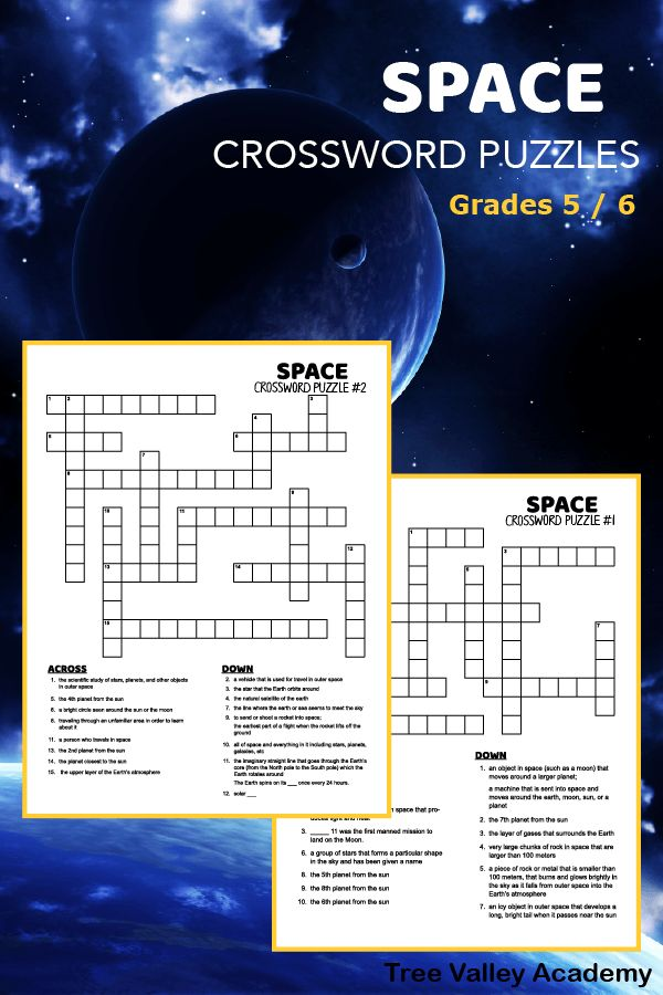 Two free printable space crossword puzzles. Ideal for ...
