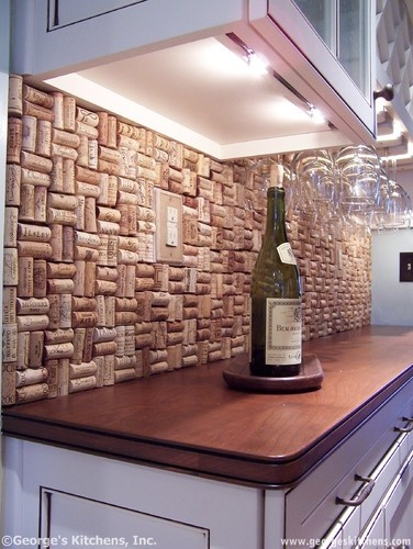 Im so going to do this in my kitchen!! cork back wall, great idea