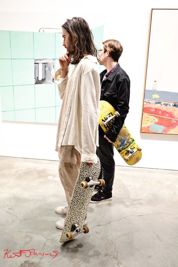 Two guys with custom skateboards, paint on pants. - Street Fashion Sydney by Kent Johnson.