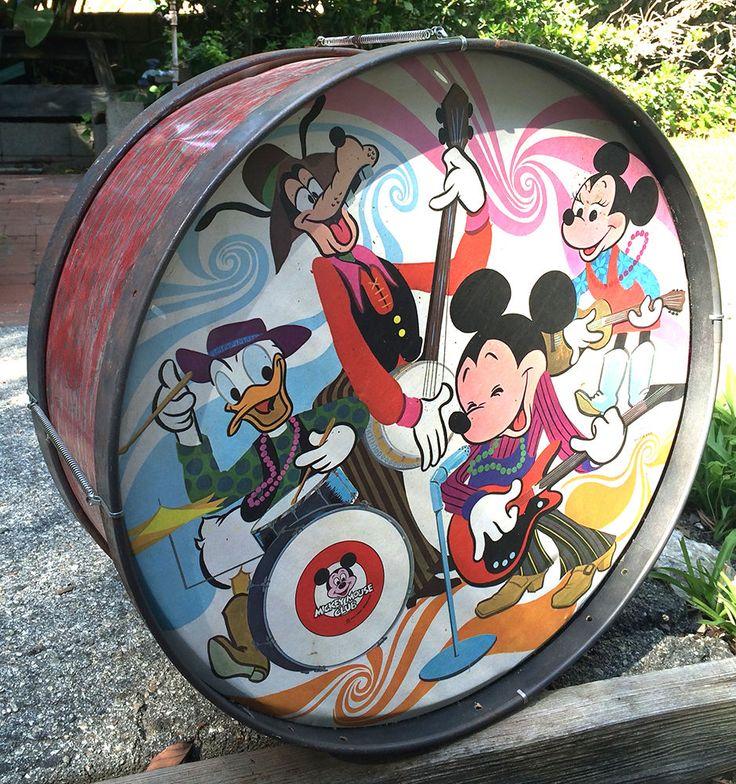 rare walt disney mickey mouse club drum donald goofy music instrument decor little vintage toy. Black Bedroom Furniture Sets. Home Design Ideas