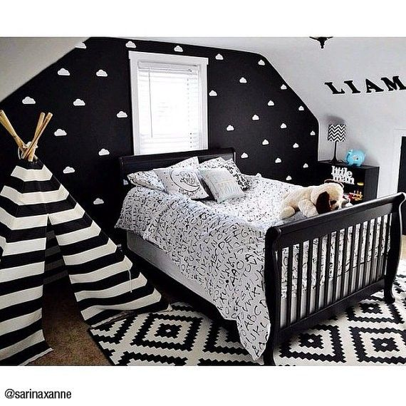 Cute Kids Room Decorating Ideas: Cute Black And White Nursery Or Toddler Room Inspiration