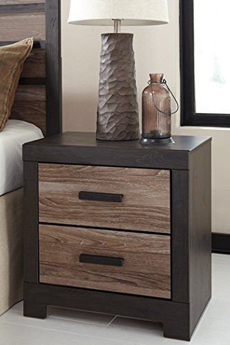 A sophisticated two-tone modern chunky group look with large matte black hardware Warm gray vintage finish with white wax effect and replicated oak grain on drawer fronts and bed Framed with vintage aged black/brown finish over replicated oak grain