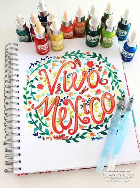 Meihsia shares a fun, colorful drawing/ hand lettering featuring Izink inks distributed by Clearsnap. It was inspired by Mexican Independence Day and the beautiful vibrant colors on most Mexican handmade crafts. You can frame this drawing and hang on your wall or display on your desk.