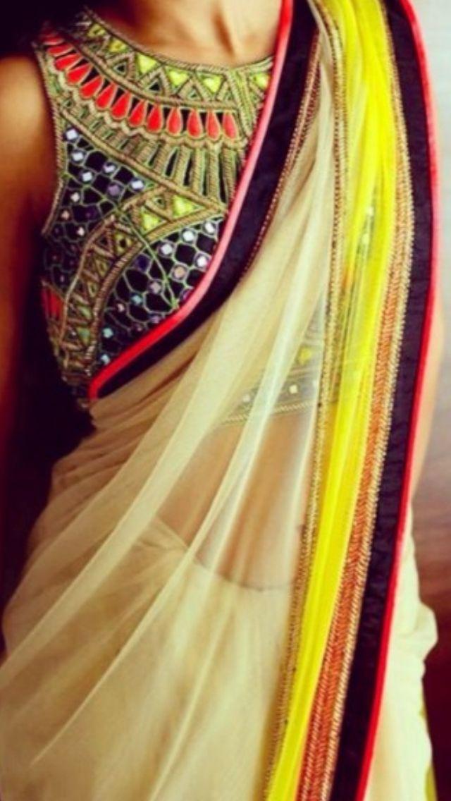 Multi print saree blouse - 2014 collection